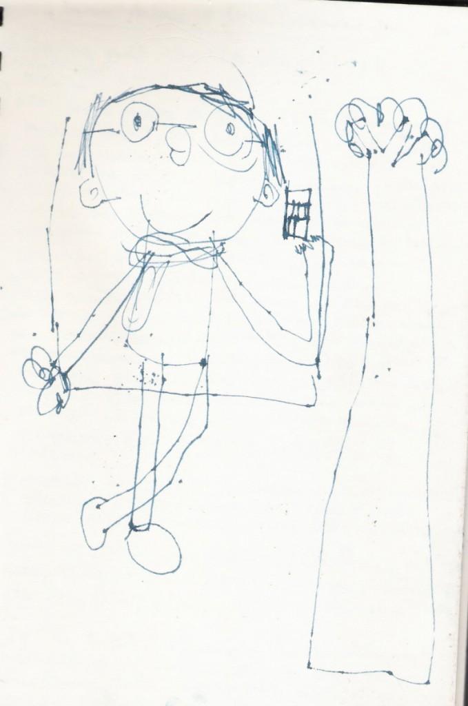 elio disegna mila in sala d'aspetto